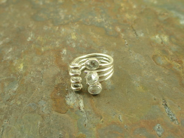 Lily Barrack One Of A Kind Sterling Silver Adjustable RingClear As A Bell-0