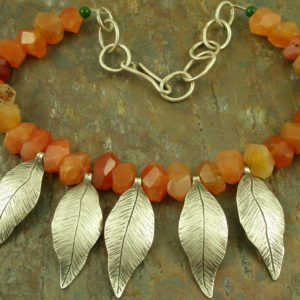 One Of A Kind Handcrafted Sterling/Stone Statement NecklaceRuffled Feathers-0