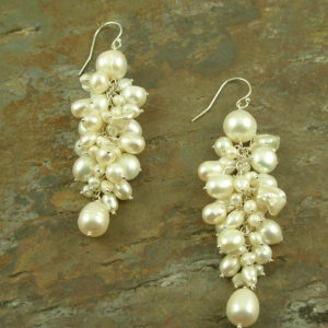 Fresh Water Pearl Cluster Dangle EarringsWhite Grapes-0