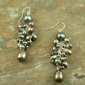Two Toned Fresh Water Pearl Cluster EarringsDoubles-0
