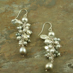 Gray Fresh Water Pearl Cluster Dangle EarringsSteely-0