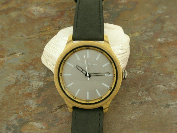 Leather Watch With Resin FaceWoody-0