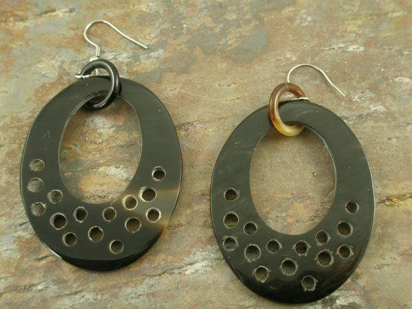 Handcrafted Horn Large Hoop EarringsHoly Cow-0