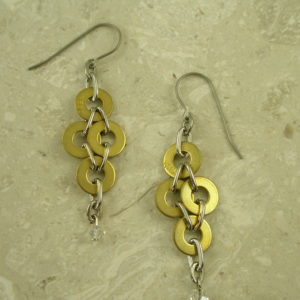 Handcrafted Re-cycled Brass EarringsWash Me-0