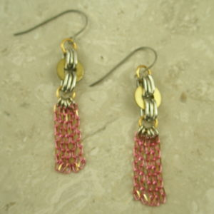 Handcrafted Re-Cycled Dangle Fashion EarringsPinkie-0