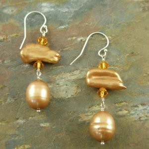 Golden Fresh Water Pearl Dangle EarringsGoldie-0