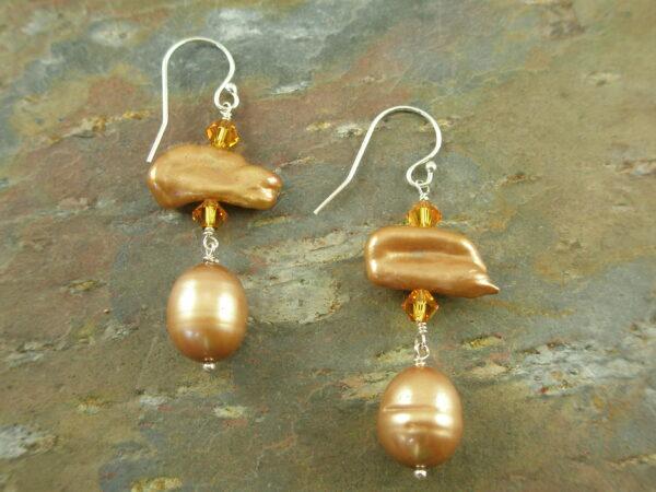 Golden Fresh Water Pearl Dangle EarringsGoldie-0