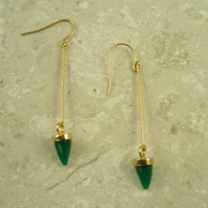 Golden Long Stone Fashion EarringGreen Bullet-0