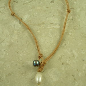 Leather And Pearl ChokerTwo Toned-0