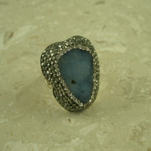 Druzy And Crystal Adjustable Statement RingPow!-0