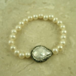 Fresh Water Pearl Stretch BraceletCrystal Pop-0
