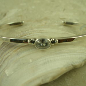 Handcrafted Contemporary Sterling/CZ Cuff BraceletOval-0