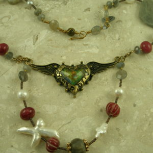 Semi-Precious Eclectic Handcrafted NecklaceTake My Heart-0