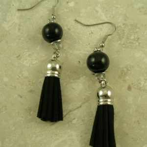 Black Tassel Dangle EarringsCoal Black-0