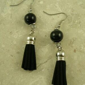 Black Tassel Dangle EarringsCoal Black-0