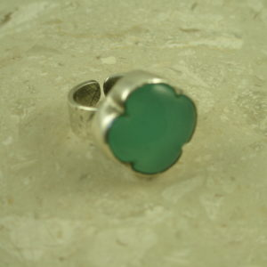 Handcrafted Chalcedony Sterling RingToo Blue-0