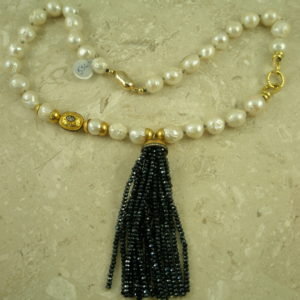 Baroque Pearl Spinel Tassel Statement NecklaceElegante-0