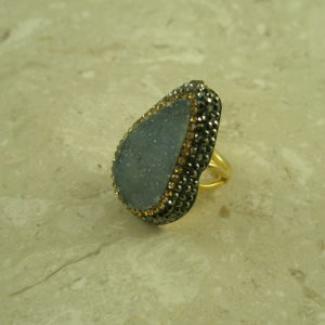 Large Druzy And Crystal Adjustable Statement RingShock Wave-0
