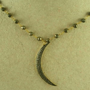 Pyrite Necklace/Pave Diamond Moon PendantCrooner-0