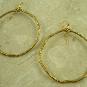 Golden Rough Hewn Large Hoop EarringEarthy-0