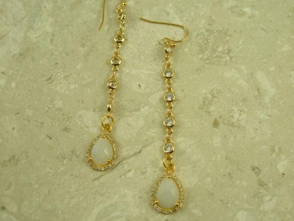 Long Golden Crystal Dangle EarringsSophie-0