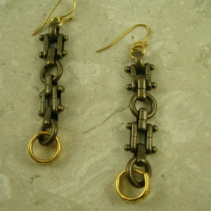Contemporary Two Toned Dangle EarringsChained Up-0