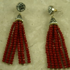 Crystal Tassel Post EarringsRed Hot-0