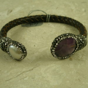 Leather, Stone And Crystal BraceletSlip On-0