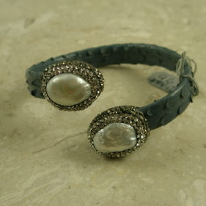 Leather, Pearl And Crystal Snap BraceletSnap-0