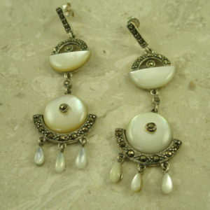 Mother Of Pearl Marcasite Dangle Post EarringsVintage-0
