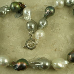 Tri Colored Natural Baroque Pearl NecklaceThe Real Deal-0