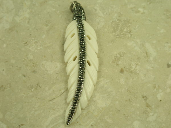 Bone And Crystal Feather PendantLittle Chief-0