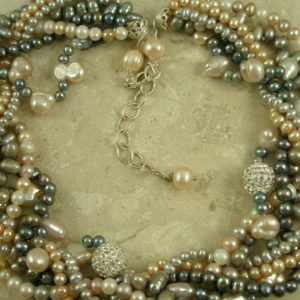 Multi Strand Pearl And Crystal NecklaceJackie O-0