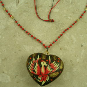 Mexican Hand Painted Wooden Pendant NecklaceBeaded Bird-0