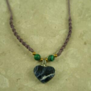 Sodalite Heart Macrame NecklacePlum-0