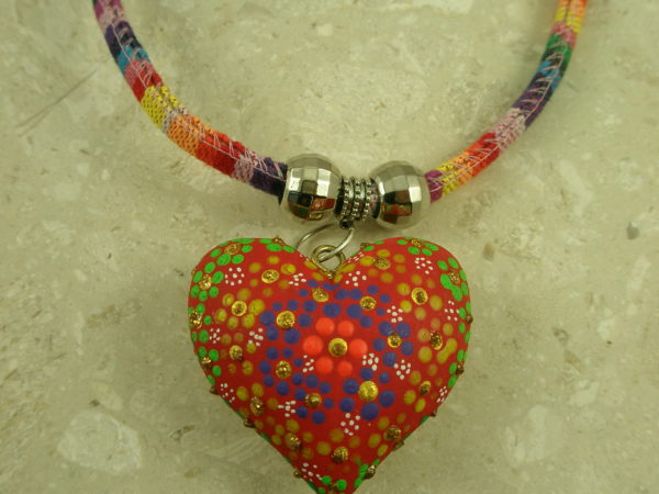Mexican Handcrafted Painted Heart/Fabric NecklaceReversible -0