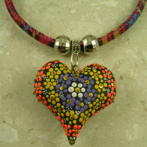 Mexican Hand Painted Fabric NecklacePuffed up-0