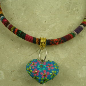 Mexican Handcrafted Fabric Heart Choker NecklaceReverse Me-0
