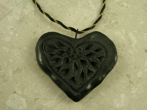 Handcrafted Mexican Clay Carved Heart PendantSteal My Heart-0