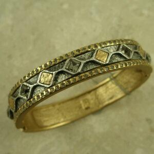 Gold Plated Swarovski Crystal Bangle BraceletDiamond Row-0