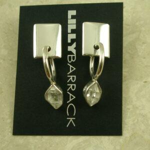 Lilly Barrack Sterling And Herkimer Diamond EarringsDrop Hoop-0
