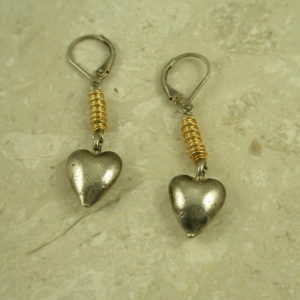 Sterling Two Toned Heart EarringsBitty Heart-0