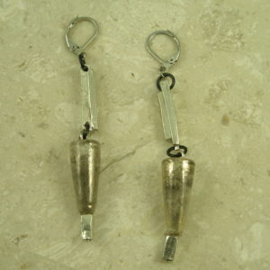 Contemporary Resin/Pewter Dangle EarringsGold Cones-0