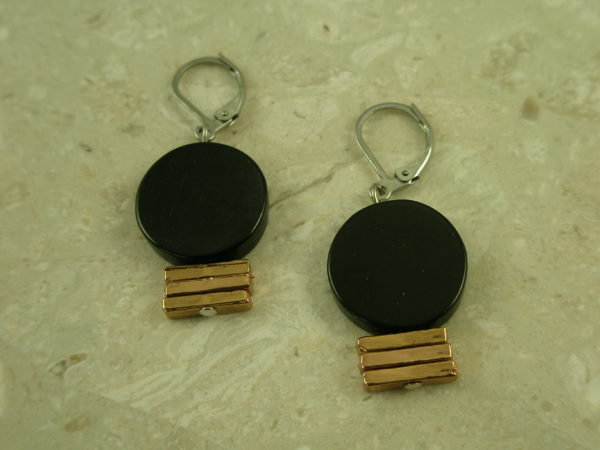 Unique Black/Rose Gold EarringsBlack Tie-0