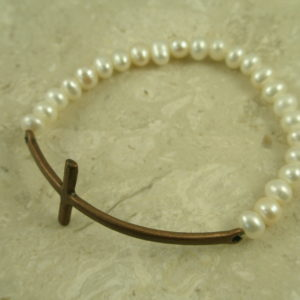 Pearl Cross Stretch BraceletRemember-0