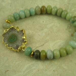 Stone/Druzy Stretch BraceletSo Lime-0
