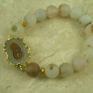 Quartz/Druzy Stretch BraceletCloud-0