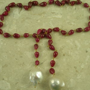 Natural Carved Ruby/Pearl LariatRuby Girl-0