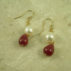 Genuine Ruby And Pearl EarringsThe Set-0