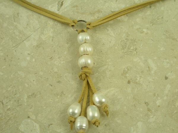 Adjustable Long Leather/Pearl NecklaceTie It Up-0